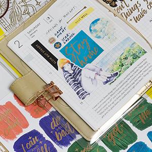 navy peony, stickers, waterproof, journal, scrapbooking, bullet journal, motivation, positivity