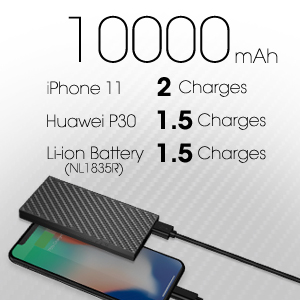 Listing how many full charges popular devices can get on NB10000