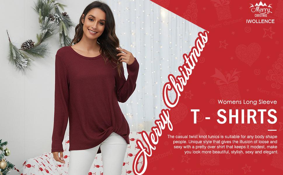 IWOLLENCE Womens Casual Twist Knot Tunics Waffle Knit Shirts Long Sleeve T Shirts