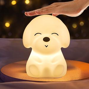 Baby Shower Gift For Girls Baby Kids Purple Dog Night Light Stained Glass Bedroom Bathroom Nursery Kitchen Decor Light Sensor Swivel