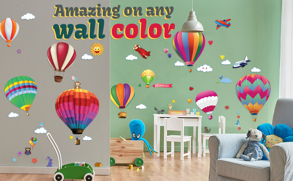 Amazon Com Wall Decals Large Hot Air Balloon Stickers Decorative Vinyl Peel And Stick Classroom Decorations Wall Art Mural For Children S Bedroom Baby Nursery And Playroom 49pcs Kitchen Dining
