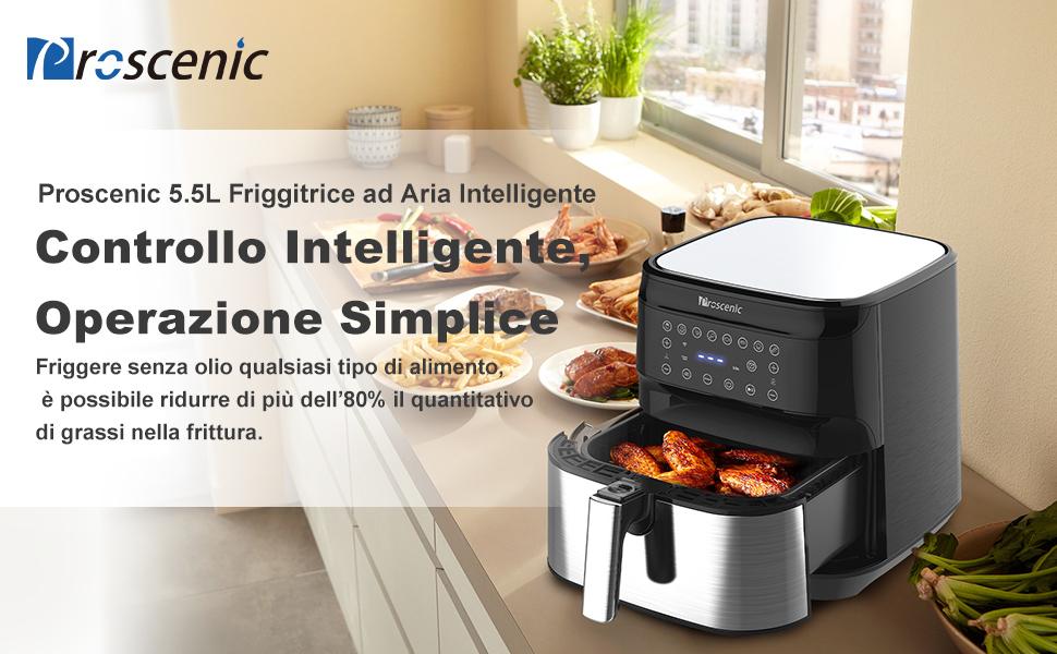 Proscenic Friggitrice ad Aria, 5.5L Air Fryer Controllo App & Alexa e Display LED Toccabile, Funzioni Timer/Preriscaldamento/Programmi/Senza BPA e PFOA