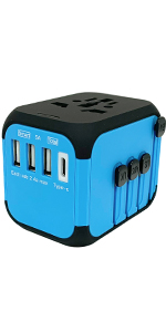 3 USB & Type C Travel Adapter Blue