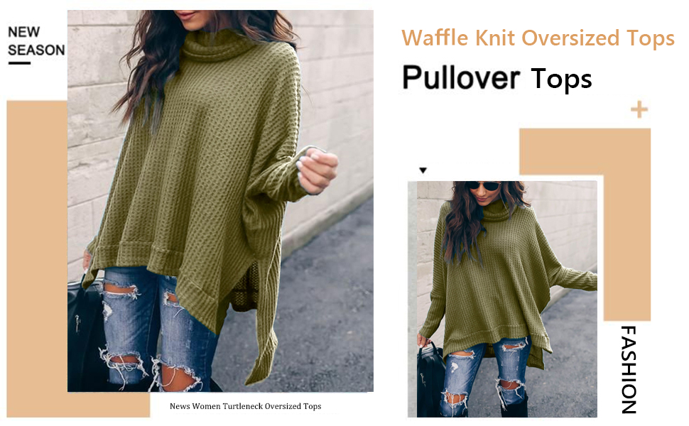 MILLCHIC Women Pullover Sweater Turtleneck Batwing Sleeve Waffle Knit Oversized Tunic Tops