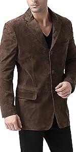 BGSD Men's Robert 3-Button Leather Blazer Suede Sport Coat Jacket
