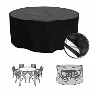 F Fellie Cover Funda para Mesa Redonda de Jardín Impermeable, 420D Funda para Muebles Circular Exterior, Protector para Conjunto Mesa y Sillas de Jardin, Resistente al Desgarro Anti Viento/UV: Amazon.es: Jardín