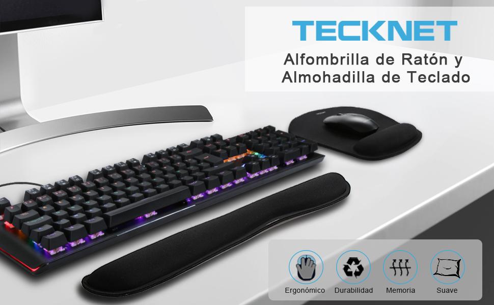 TECKNET Alfombrilla Ratón Apoyo de Gel, Cojín Alfombrilla de Ratón y Almohadilla de Teclado Ergonómico (Base de Goma no Deslizante) - Superficie ...
