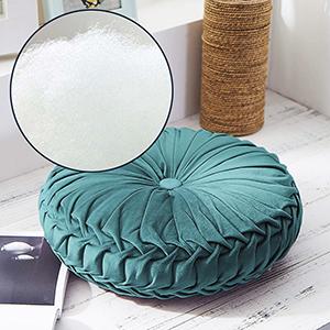 Horypt Coussin Rond , Coussin de Sol en Velours pliss/é Rond Citrouille Coussin de Sol pour canap/é-lit Salon Chaise de Bureau Voiture (Gris fonc/é)