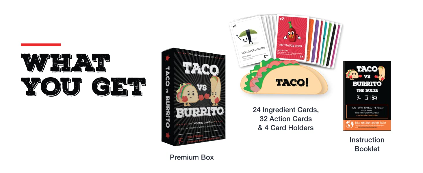 Taco vs Burrito What's Included
