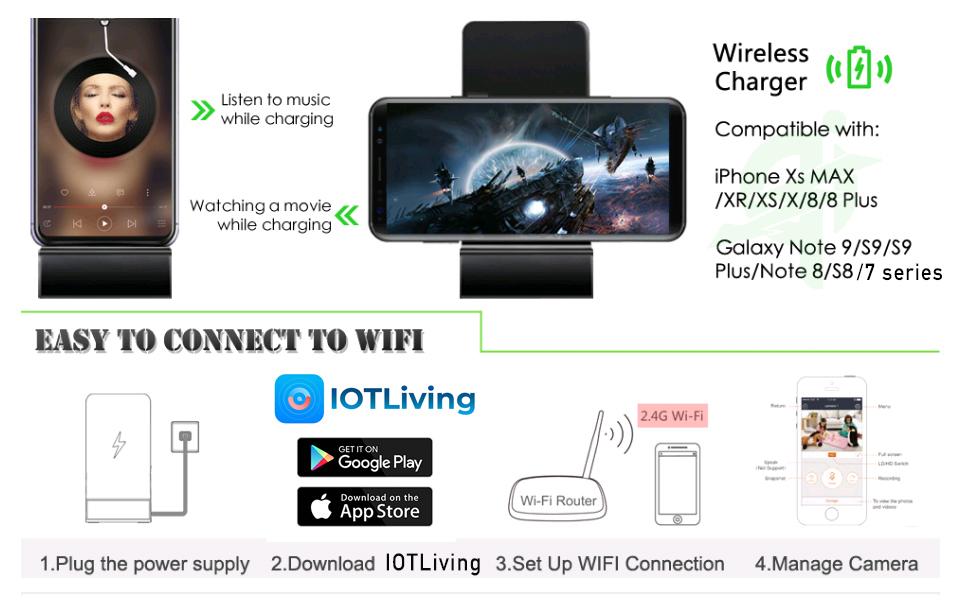 Q200 wireless spy camera charger 1080P
