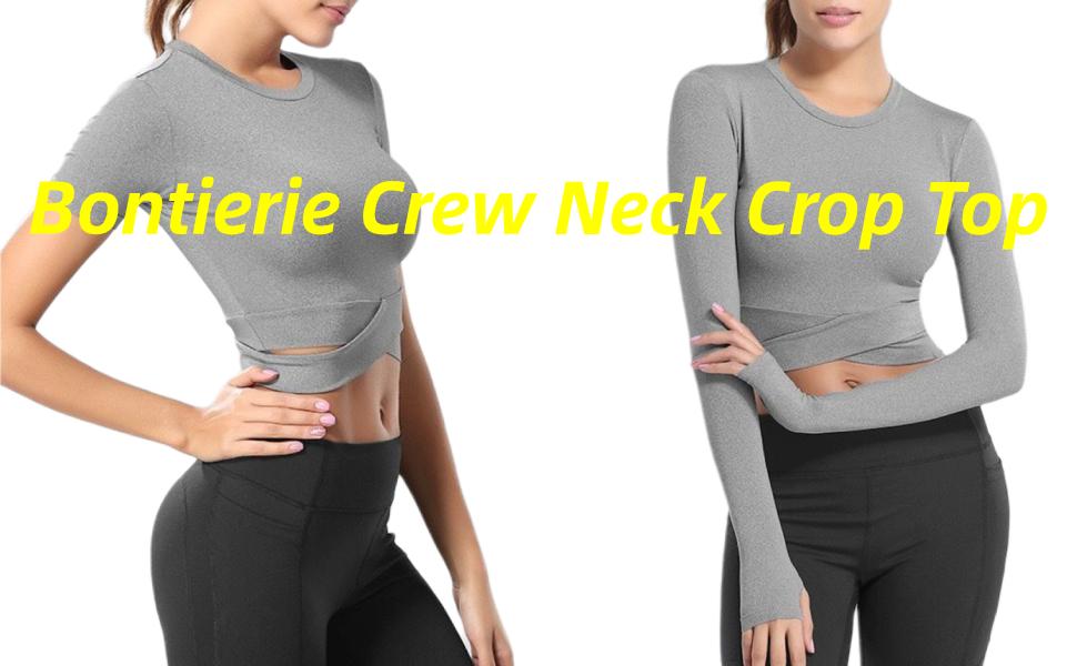 crew neck crop tops waist cross