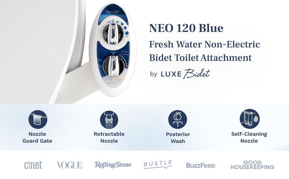 Neo 120 Blue - fresh water non-electric bidet toilet attachment by Luxe Bidet