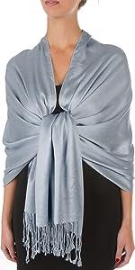 Silky scarf super soft fringe shawl premium reversible brocade color soft elegant events formal nice