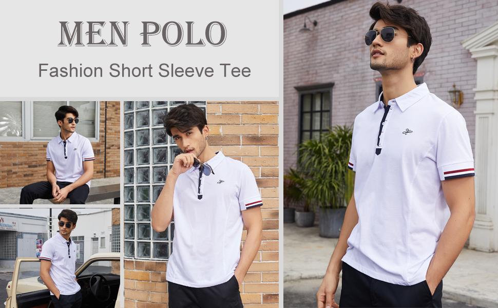 COOFANDY Men's Fashion Polo Shirt Short Sleeve Tee Slim Fit Golf Tee Sport Polo