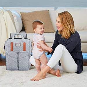 diaper bag backpack with bassinet grey diaper backpack with portable baby crib diaper bag with bed