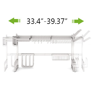 with Utensil Holder Hooks Over the Sink Dish Drying Rack, Weluvfit 2 Tier Large Stainless Steel