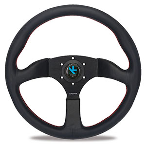 Leather 14in//350mm for MOMO Style 6-Bolt Black Leather Racing Steering Wheel Black Stitching with Horn Button Aluminum Alloy