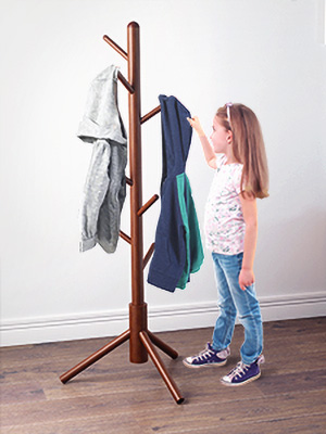LANGRIA Solid Rubberwood Coat Rack Stand Hat Hanger Tree Holder, Clothes Organizer with Tripod Base