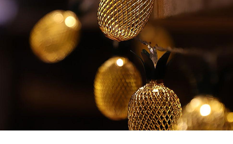 LED Lichterkette Ananas Vintage Party Lichter Kette Deko 20 LEDs Strom Warmweiß