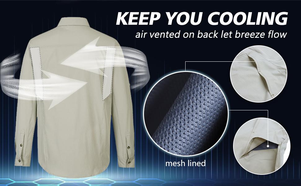 cooling shirt vented shirt summer MOISTURE WICKING fast dry shirt