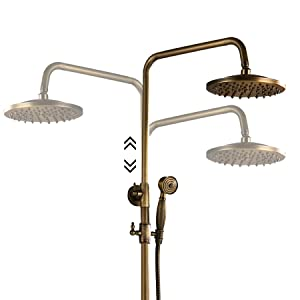 Oil Rubbed Bronze Brass Exposed Pipe Shower System Single handle 8 Inch Rainfall Shower Head