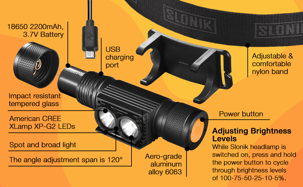 led headlamp for adults rechargeable headlight bright
