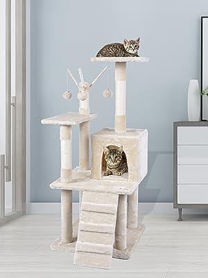 35 cm centro attivit/à per gatti Famgizmo Albero per gatti con tiragraffi in sisal torre da arrampicata torre per gatti con giocattoli appesi beige