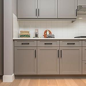 30 Pack 7.38\'\' Cabinet Pulls Matte Black Stainless Steel Kitchen Cupboard  Handles Cabinet Handles 7.38\'\' Length, 5\'\' Hole Center