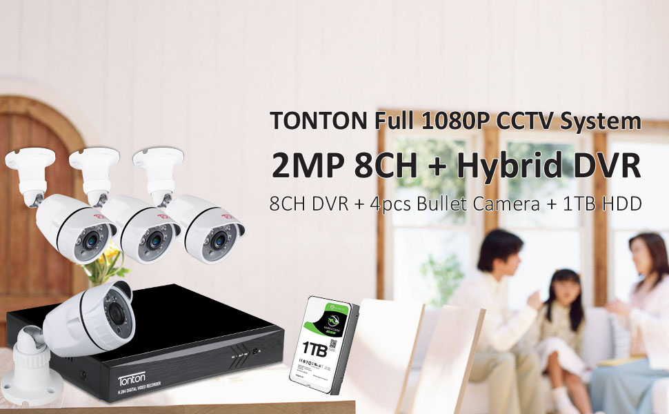 8CH DVR with 4 cameras and 1TB HDD