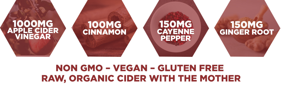 Organic Apple Cider Vinegar w/The Mother, Ginger, Cinnamon, Cayenne Pepper and Vitamin C