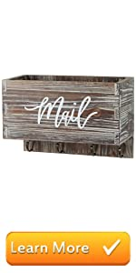 Rustic Torched Wall Mounted Mail Sorter Letter Holder Box Key Hooks, Mail Print