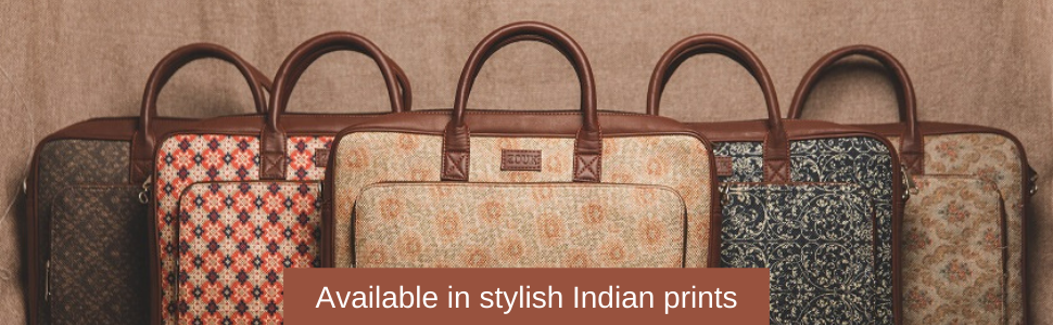 Zouk laptop bags, Indian prints, Ethnic prints, Jute bags, Kadi bags, Vegan leather, Fits laptop