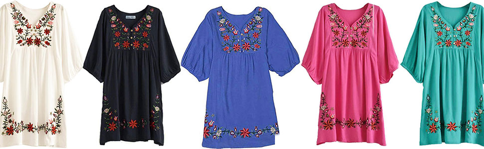 ASHER FASHION Floral Embroidered Peasant Dressy Tunic Tops Blouses