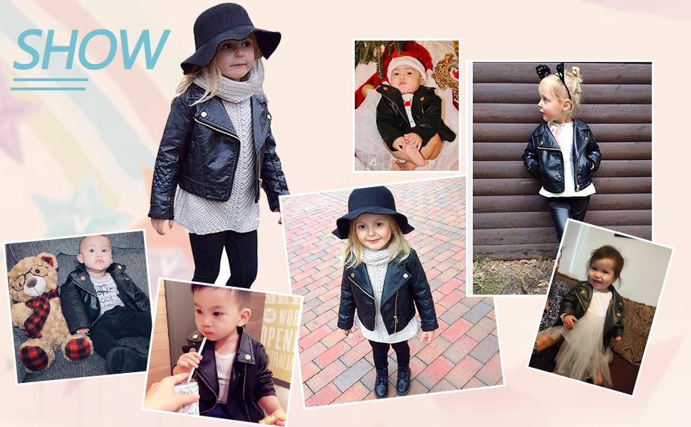 Children Boys Girls Motorcycle Leather Coat Little kids Boys Girls Fashion Leather Jacket Fall Coat