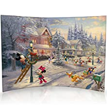 Mickey and Minnie Mouse Victorian Christmas Curved Acrylic Print
