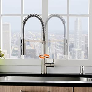 Commercial Kitchen Faucet with Pull Down Sprayer and soap dispenser, Stainless Steel Brushed Nickel