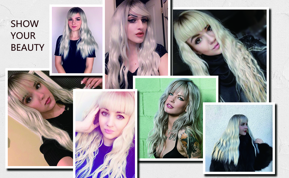 silver wigs with bangs