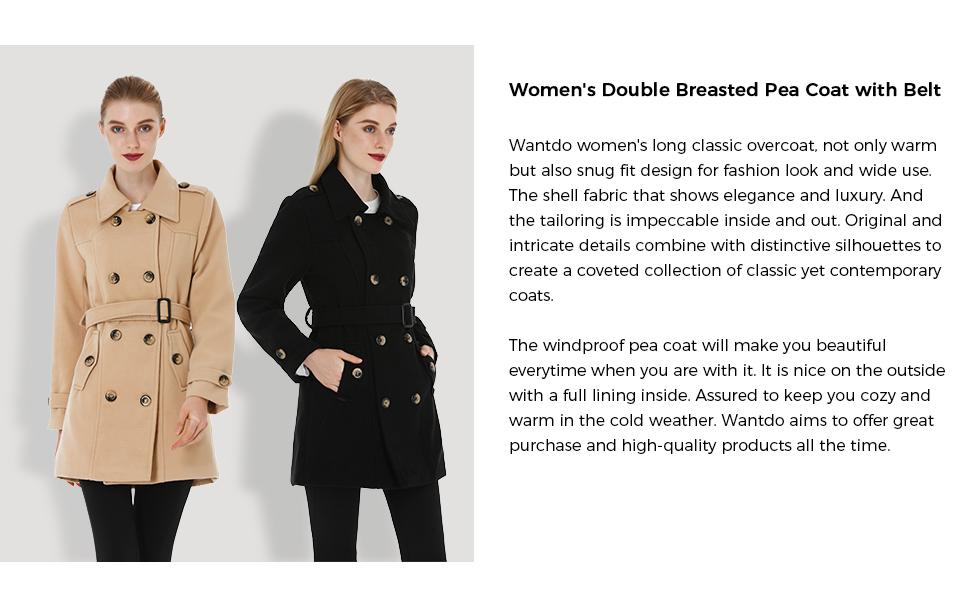 Women's Winter Mid-Long Trench Coat with Belt