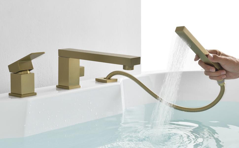 Brushed gold bathtub faucet