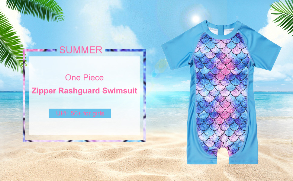 QPANCY Girls Rash Guard Swimwear Kids Rashguard Swimsuits UPF 50 Sun Protection