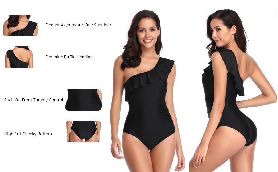 women one piece one shoulder ruffle bathing suit