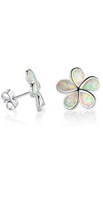 opal earrings,flower earrings,stud earrings ,opal earrings