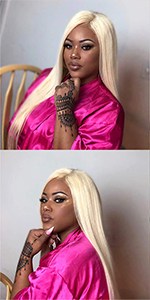 blonde human hair 613 lace front wigs