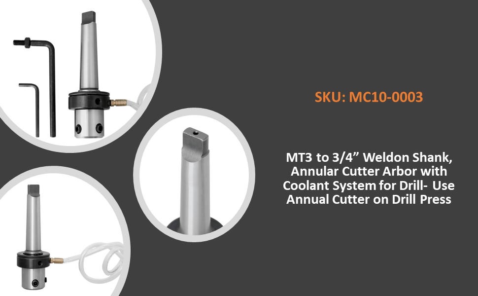 Mt3 to 3/4'' Weldon Shank, Annular Cutter Arbor with Coolant System for Drill