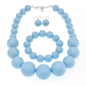 sky blue pearl necklace set