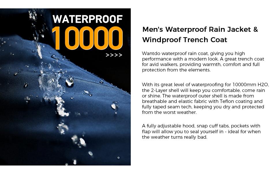 Wantdo Men's Breathable Raincoat Packable Sportswear