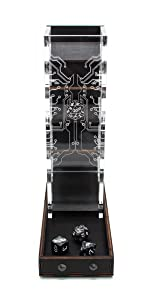 C4Labs Tall Classic Dice Rolling Tower Clear Tray Acrylic Wood hi tech etch cyberpunk steampunk game
