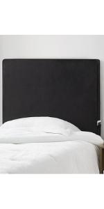 Black plush headboard for college students Twin extra long dorm mattress