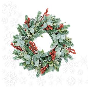 Christmas or Seasonal Wreath on White Snowflake Background