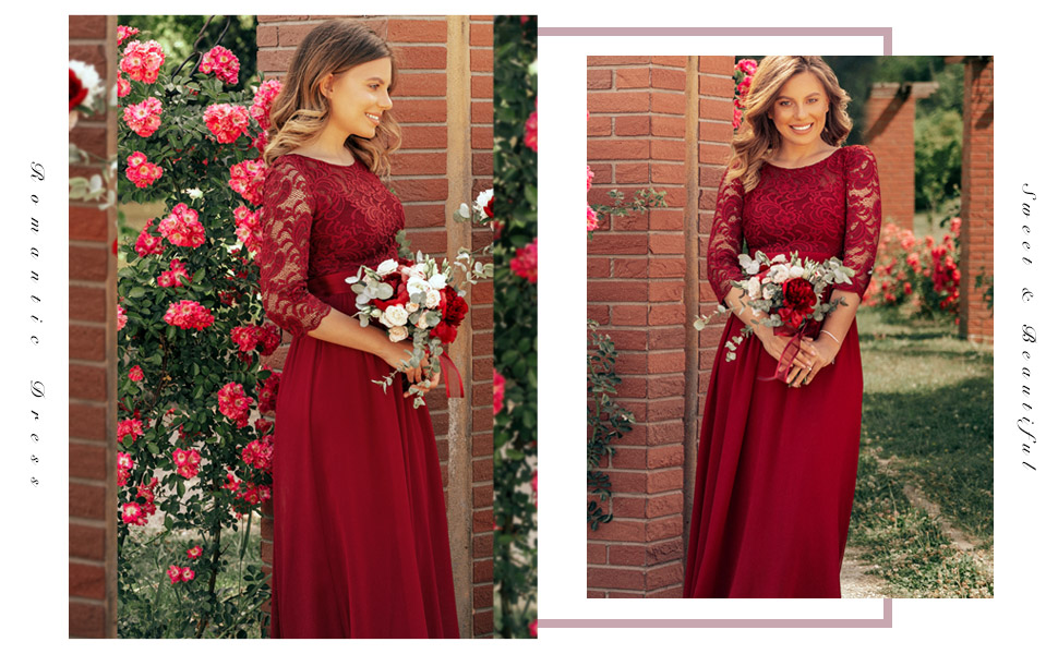 Ever-Pretty Lace Prom Dresses with Long Sleeve Winter Formal Dresses for Weddings Party Lace Dress